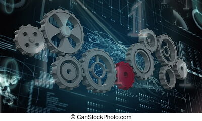 Silver gears and one red gear