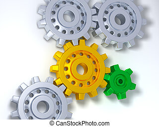 Silver gears one gold and one green
