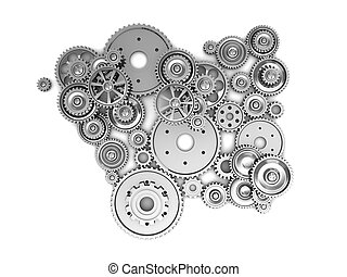 Silver gears - Silver industrial gears over white background