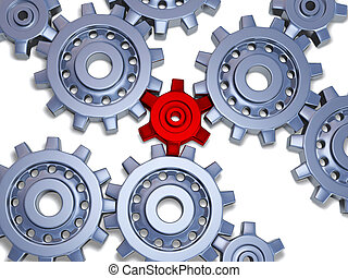 Silver gears with one little red