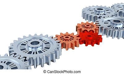 Silver Gears with one Red