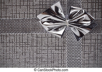 silver gift as background