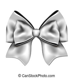 Silver gift bow isolated on white background.