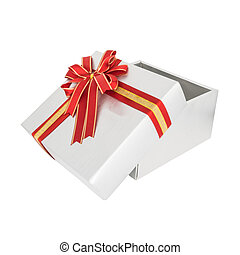 Silver gift box and red ribbon isolated on white background