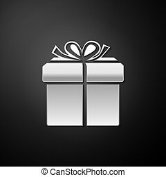 Silver Gift box icon isolated on black background. Long shadow style. Vector