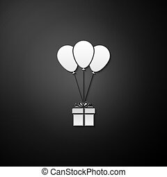 Silver Gift box with balloons icon isolated on black background. Long shadow style. Vector