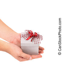 Silver gift box with red ribbon.