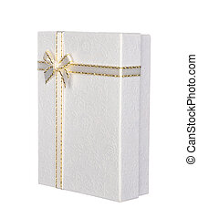Silver gift box with ribbon and bow isolated on white