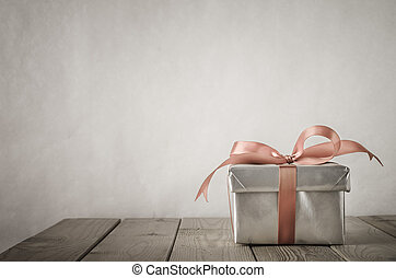 Silver Gift Box with Vintage Effect - A gift box with closed...