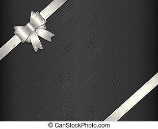 Silver gift ribbon with gift paper - Silver ribbon on gift...
