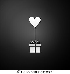 Silver Gift with balloon in shape of heart icon isolated on black background. Valentine's day, wedding, birthday card. Long shadow style. Vector