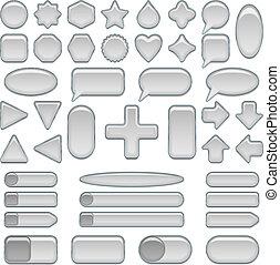 Silver glass buttons, set