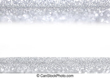 Silver glitter background with white copy space