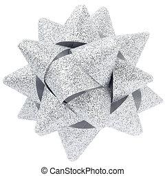 Silver glitter bow