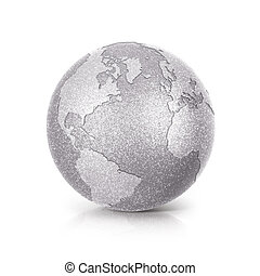 Silver Glitter globe 3D illustration North and South America map