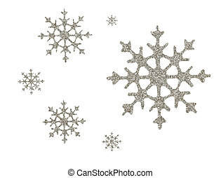 Silver glitter snowflakes for Christmas decoration