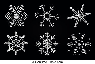 Vector illustration of snowflakes with silver glittering texture