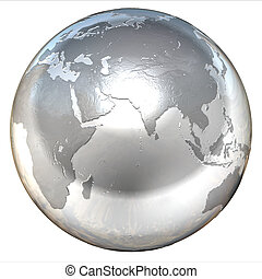 silver globe 3d illustration