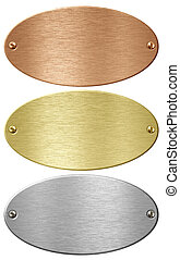 Silver, gold and bronze metal ellipse plates isolated with...