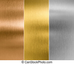 silver, gold and bronze metal texture backgrounds - high...