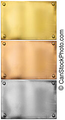 silver, gold, bronze metal plates with rivets set isolated