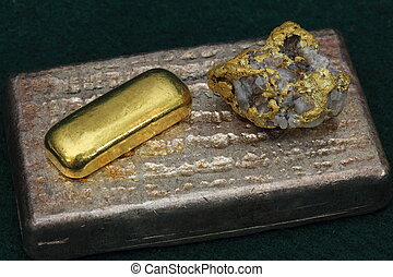 Silver and gold bullion bars (ingots) - High-grade gold/quartz specimen from Nevada USA