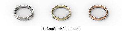 Silver, Gold, Copper rings isolated on white background. 3D rendering.