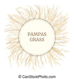 Silver golden Pampas grass Card template with copy space. ...