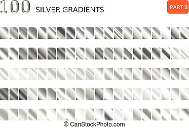 Silver gradient set. Metallic silver