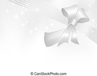 Silver gray ribbon with bow