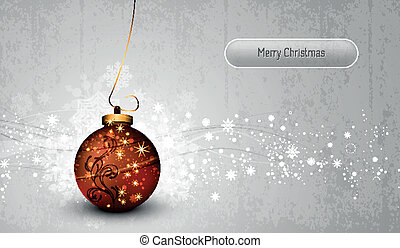 Silver Greeting Card with Bronze Christmas Globe