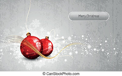 Silver Greeting Card with Red Christmas Globes