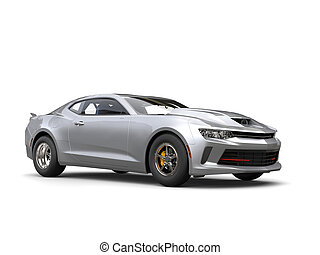 Silver grey muscle car - studio shot