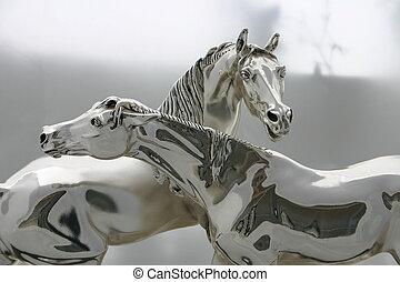 silver, hästar