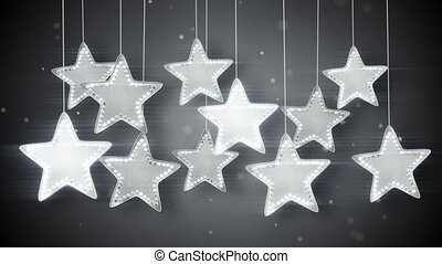 silver hanging stars christmas lights loop - silver hanging...