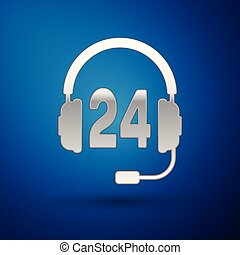 Silver Headphone for support or service icon on blue background. Concept of consultation, hotline, call center, faq, maintenance, assistance. Vector Illustration