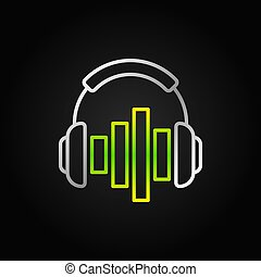 Silver Headphones with green equalizer vector line icon