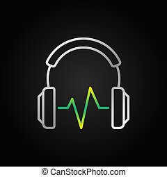 Silver Headphones with green sound wave vector icon