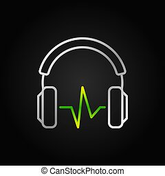 Silver Headphones with green sound wave vector outline icon