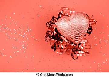 Silver heart in present box