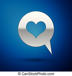Silver Heart in speech bubble icon isolated on blue background. Heart shape in message bubble. Love sign. Valentines day symbol. Vector Illustration