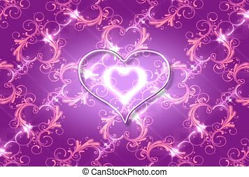 Silver Heart on a Purple Background