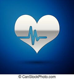 Silver Heart rate icon isolated on blue background. Heartbeat sign. Heart pulse icon. Cardiogram icon. Vector Illustration