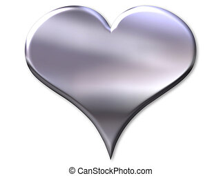 Silver heart with bevel on white background