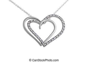 Silver hearts pendant, necklace