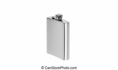 Silver hip flask spins on white background