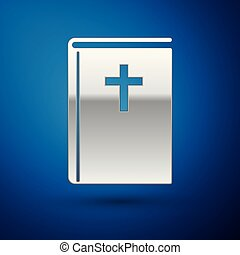 Silver Holy bible book icon isolated on blue background. Vector Illustration