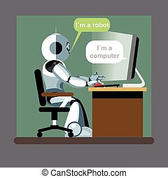 Silver humanoid robot sitting on a