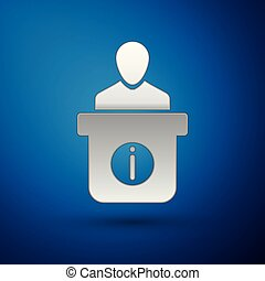 Silver Information desk icon isolated on blue background. Man silhouette standing at information desk. Help person symbol. Information counter icon. Vector Illustration