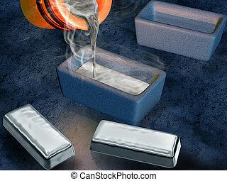 Silver ingot casting - Illustration of a silversmith casting...